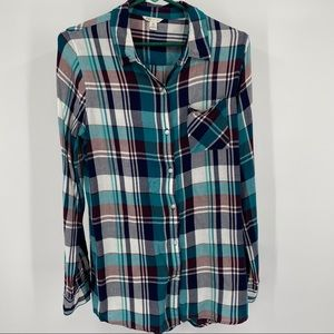 Cato Green Plaid Button Up Long Sleeve Roll Tab